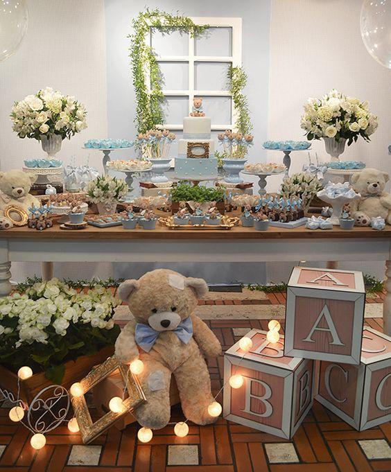 Chá de beb u00ea ursinho ideias de decoraç u00e3o para meninos e meninas Chá de Beb u00ea EuNenem com -> Decoração Cha De Bebe Tema Urso